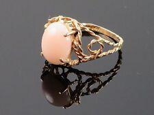 Vintage Angel skin coral cabochon 14K gold ring
