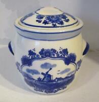 Vintage Elesva Delftware Holland for Marne's Mustard Jar & lid 8cm Blue & White