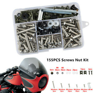 155X Stainless Steel Motorcycle Shell Fairing Bolt Plate Screws Nut Kit  Thread