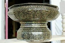 """Large 12"""" Antique Thai 12 Sided Pedestal Footed Bowl Inlaid Mother of Pearl"""