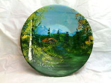 "Hand Painted ""Alaska 78"" Cabin in the Woods Metal 7"" Prospecting Pan 1978 Signed"