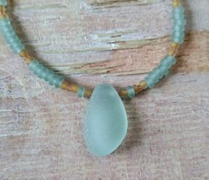 Gift for Her Sea Glass Beaded Necklace Surf Beach Frosty Hawaii Golden Yellow