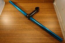 1990's MTB flat handlebar blue anodized + stem Cr-Mo ahead 1 1/8'' FOCUS Black