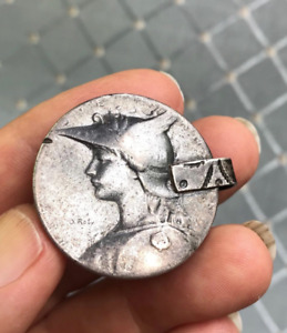 (B) Antique Marianne Silver Medal French Algerian Coral Berber Pendant Roty Coin