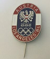 Austria Olympic Pin Badge Noc From The 1984 Los Angeles Usa Olympiad
