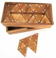 Tridomino Triomino Dreieck Domino - 56 Spielsteine aus Holz mit weissen Zahlen