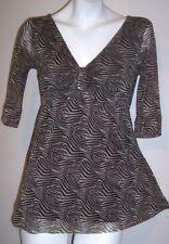 Weston Wear Top M Layered Nylon Boho Hippie Stretch Knit Shirt Women's Medium