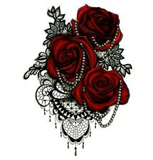 Temporary Tattoo Large Red Roses Body Art Fake Waterproof Sheet Size 21x15cm