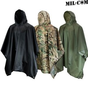 MIL-COM PONCHO WATERPROOF RIPSTOP HOODED SHELTER FESTIVAL RAIN COAT ARMY CAMO