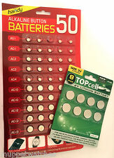 50 X Assorted Alkaline Button Cell Coin Battery With 8 X CR Lithium 3v Batteries