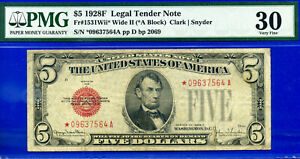 Total 9 Notes Graded - 1928-F $5 US Note (( Wide II - STAR )) PMG 30 # *9637564A