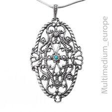 835 Silber Anhänger Markasit Türkis im Jugendstil silver pendant Turquoise