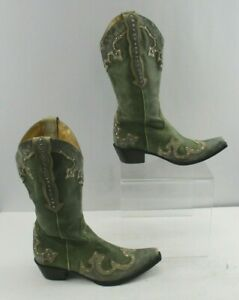 Ladies Gianni Bini Green Pointed Toe Western Cowgirl Boots Size: 7.5 M