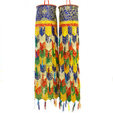 Tibetan Buddhist Large Pair of Tube Round Flags with Tassels  made in Nepal