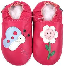 shoeszoo butterfly flower fuchsia 0-6m S soft sole leather baby shoes