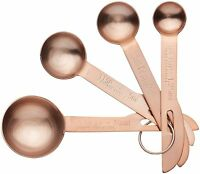 Kitchen Craft Set of 4 Copper Finish Stamped Measuring Spoons - Tsp, Tbsp, ml