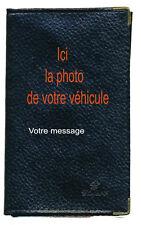 Etui carte grise noir en cuir papiers de voiture permis personnalise avec photo