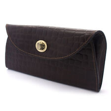 Women's Textured Brown Leather Envelope Clutch Bag. New!