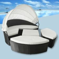 vidaXl 11 Piece Lounge Set 2-in-1 Canopy Rattan Wicker Patio Sunlounger Daybed