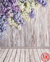 GREY WOOD LILAC FLOWER BABY BACKDROP BACKGROUND VINYL PHOTO PROP 5X7FT 150X220CM