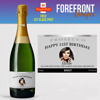 Personalised Photo Prosecco Bottle Label, Perfect Birthday Gift/Wedding Gift