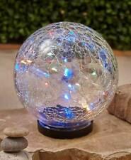 Solar Powered Lighted Multi-Colored Crackle Glass Garden Gazing Ball Globe