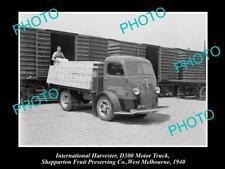 OLD HISTORIC PHOTO OF INTERNATIONAL HARVESTER D300 TRUCK SPC SHEPPARTON c1940