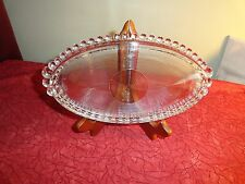 VINTAGE HEAVY BULLSEYE PATTERN PRESSED GLASS RELISH DISH