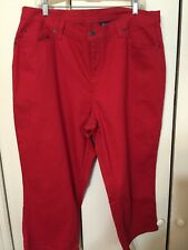 Denim & Co. Plus Size Jeans 22W 5 Pocket Colored Denim Red Cropped
