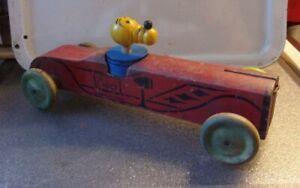 "Antique Vintage Walt Disney Pluto Dog Wooden Chief Car 11"""