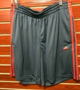Men's Adidas Climalite 3 Stripe Performance Active Shorts w/ Pockets Gray   MED