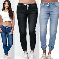 Women Summer Casual Denim Pants Drawstring High Waist Jeans Slim Fit Trousers