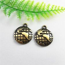 20pcs Antiqued Bronze Alloy Half Globe Charms Pendant Necklace Jewelry Making