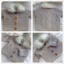 Hand knitted baby sweater 0-3 months all seasons handwashable unisex boys/girls