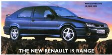Renault 19 Prices & Options 1992 UK Market Foldout Brochure RL RN RT 16v Cabrio