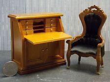 Dollhouse Miniature Walnut Desk & Chair Set 1:12 inch scale F53 Dollys Gallery