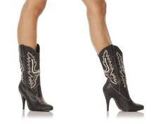 """4"""" Black Cowboy Cowgirl Western Sexy Stiletto Costume Womans Boots Size 7 8 9 10"""
