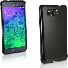 Nero Solido Gel TPU Custodia per Samsung Galaxy Alpha SM-G850 Case Cover Skin