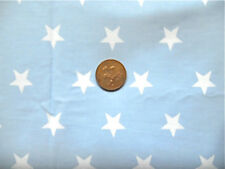 PALE BLUE WITH LARGE WHITE STARS ON - 100% COTTON FABRIC F.Q.'S