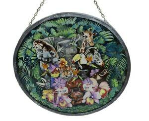 Vintage Glass Masters 1988 Stained Glass Jungle Animals Suncatcher Light Catcher
