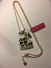Betsey Johnson inlay BLACK Crystal Santa Claus ON STAGE Necklace-BJ6569