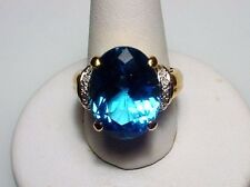 Charming Blue Topaz Solid 14-kt Gold Ring, Attractive, Great Value (#2447)