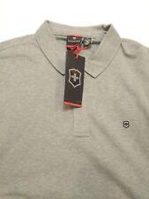 Victorinox Cotton Blend Zip Long Sleeve Movement  Gray Polo Shirt NWT XXL $125