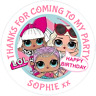 48 Personalised  Party Bag Stickers LOL SURPRISE DOLLS Sweet Cone Labels 40mm