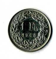 Moneda Suiza 1968 B 1 franco suizos coin Helvetia