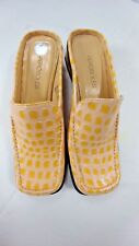 Aerosoles Womens Patent Leather Croc Animal Print Mules Slides Yellow Size 6 NEW