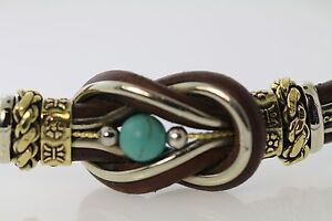 BROWN LEATHER 2/TONE KNOT NECKLACE  W/ TURQUOISE BEAD IN CENTER HANDCRAFTED