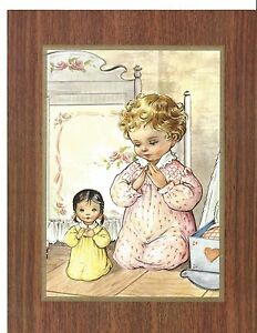 """Catholic Print Picture Little Girl praying with her little sister 7x9"""""""