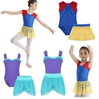 Girls Ballet Gymnastics Leotard Dress Tutu Skirt Outfit 2 Pcs Dancewear Costume