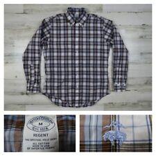 Brooks Brothers Regent Mens Medium Blue Plaid Checks Button Front Sport Shirt